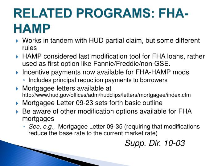 RELATED PROGRAMS: FHA-HAMP