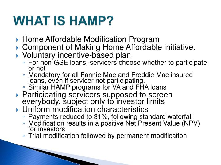 WHAT IS HAMP?