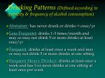 drinking patterns defined according to quantity frequency of alcohol consumption