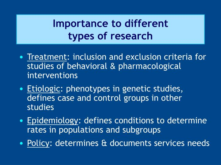 Importance to different types of research