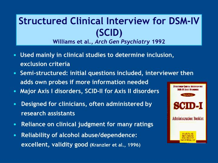 clinical interview The structured clinical interview for diagnostic and statistical manual of mental disorders (dsm scid) is a widely used semi-structured interview intended to determine whether an indi.