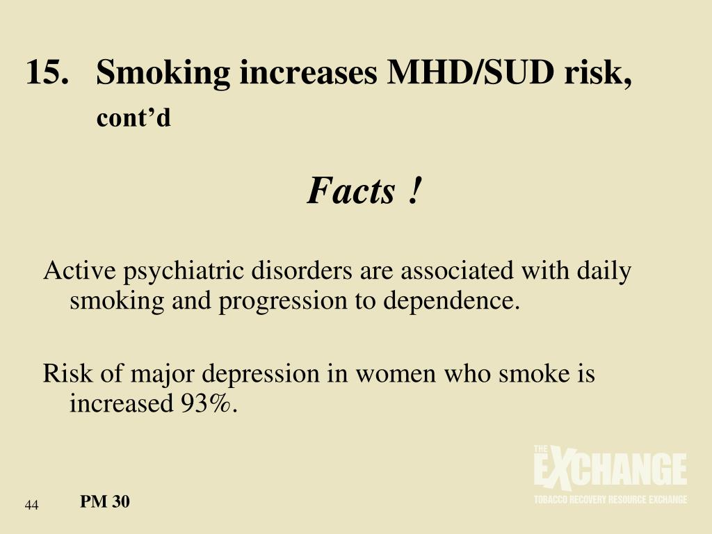 15.	Smoking increases MHD/SUD risk,