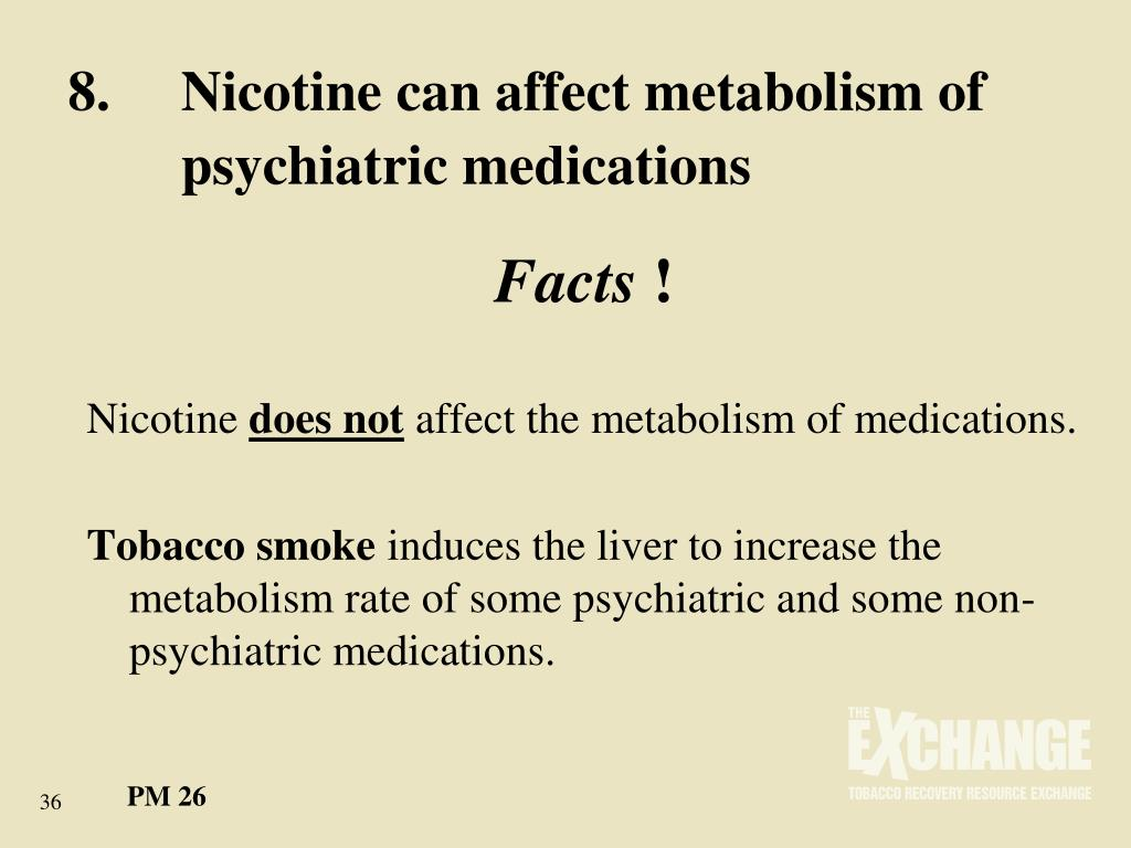 8.	Nicotine can affect metabolism of 	psychiatric medications