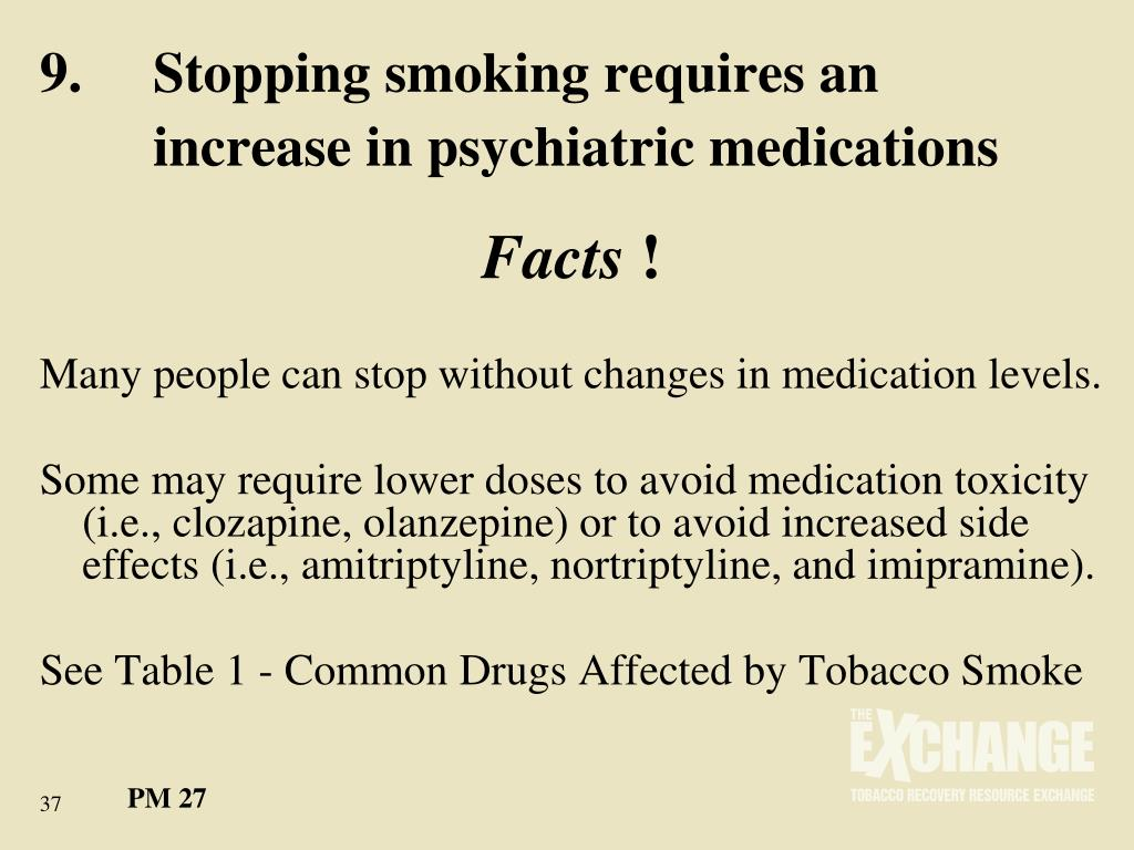 9.	Stopping smoking requires an 	increase in psychiatric medications