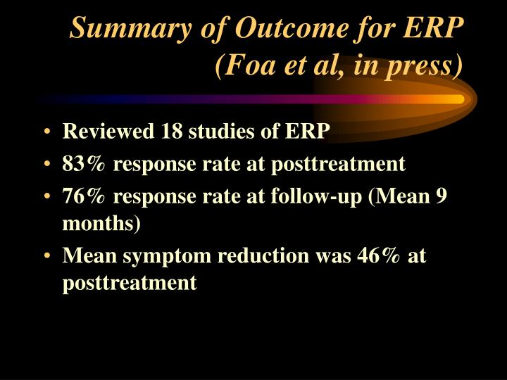 Summary of Outcome for ERP
