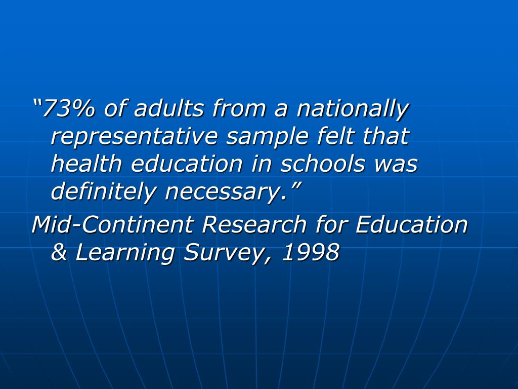 """73% of adults from a nationally representative sample felt that health education in schools was definitely necessary."""