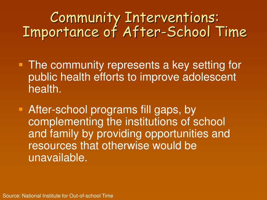 Community Interventions: Importance of After-School Time