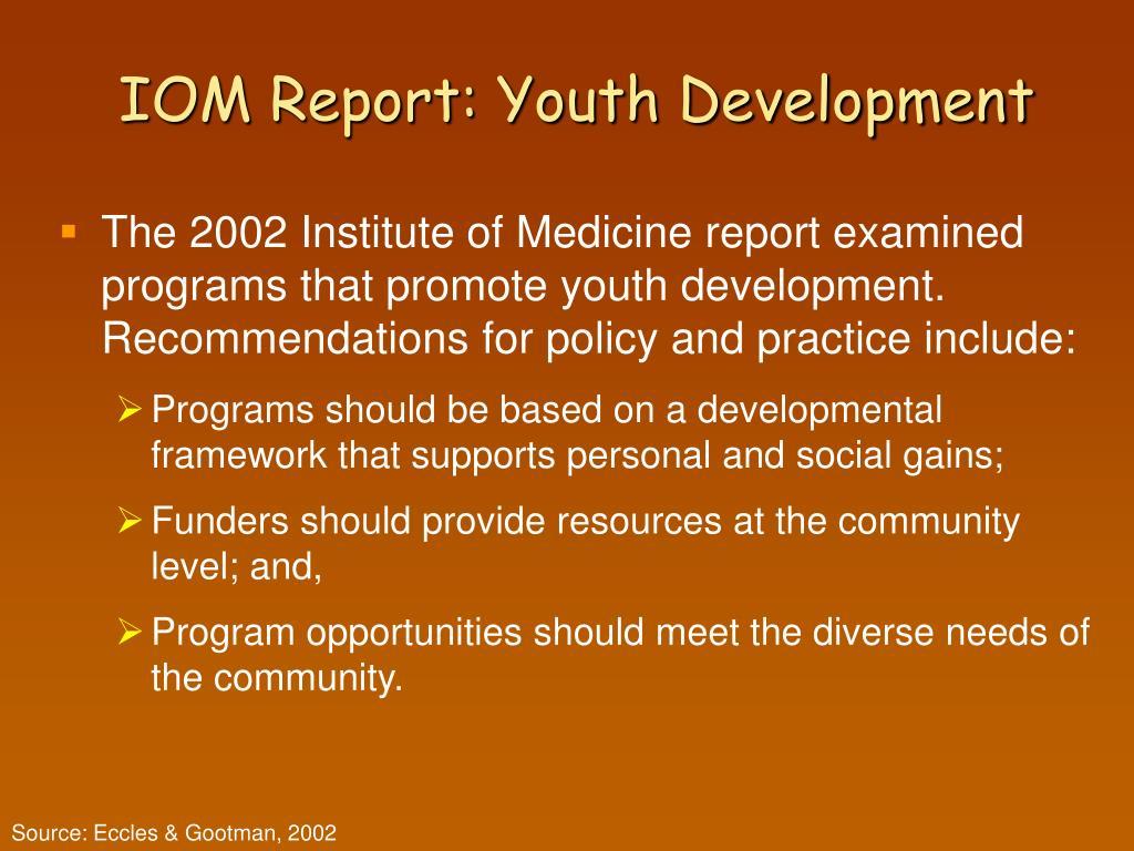 IOM Report: Youth Development