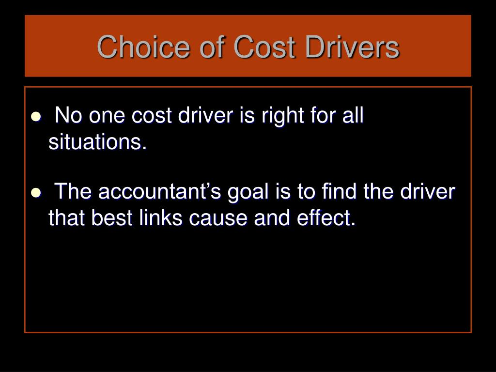 Choice of Cost Drivers