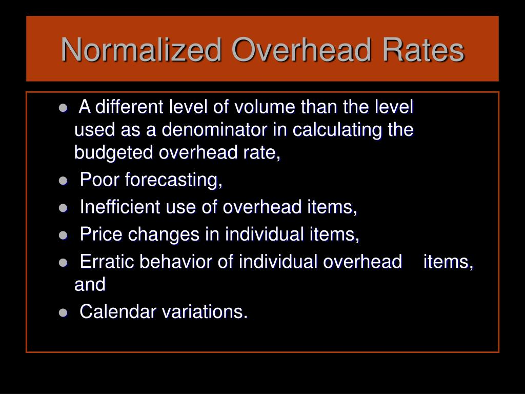 Normalized Overhead Rates