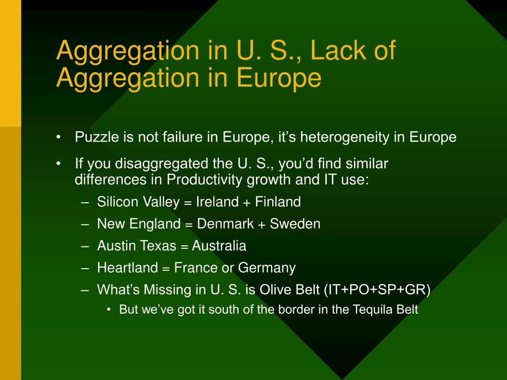 Aggregation in U. S., Lack of Aggregation in Europe