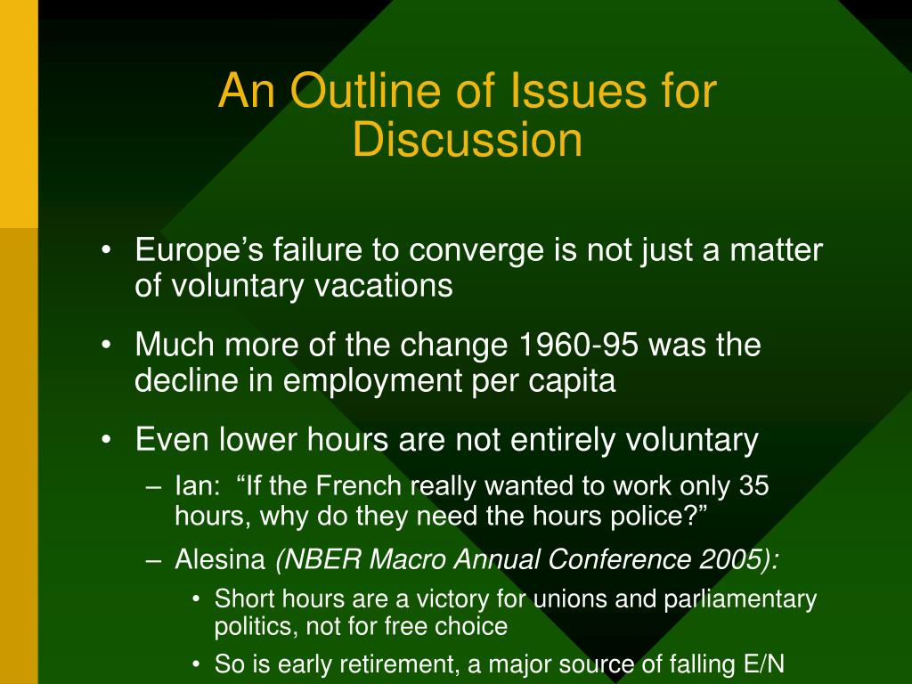 An Outline of Issues for Discussion