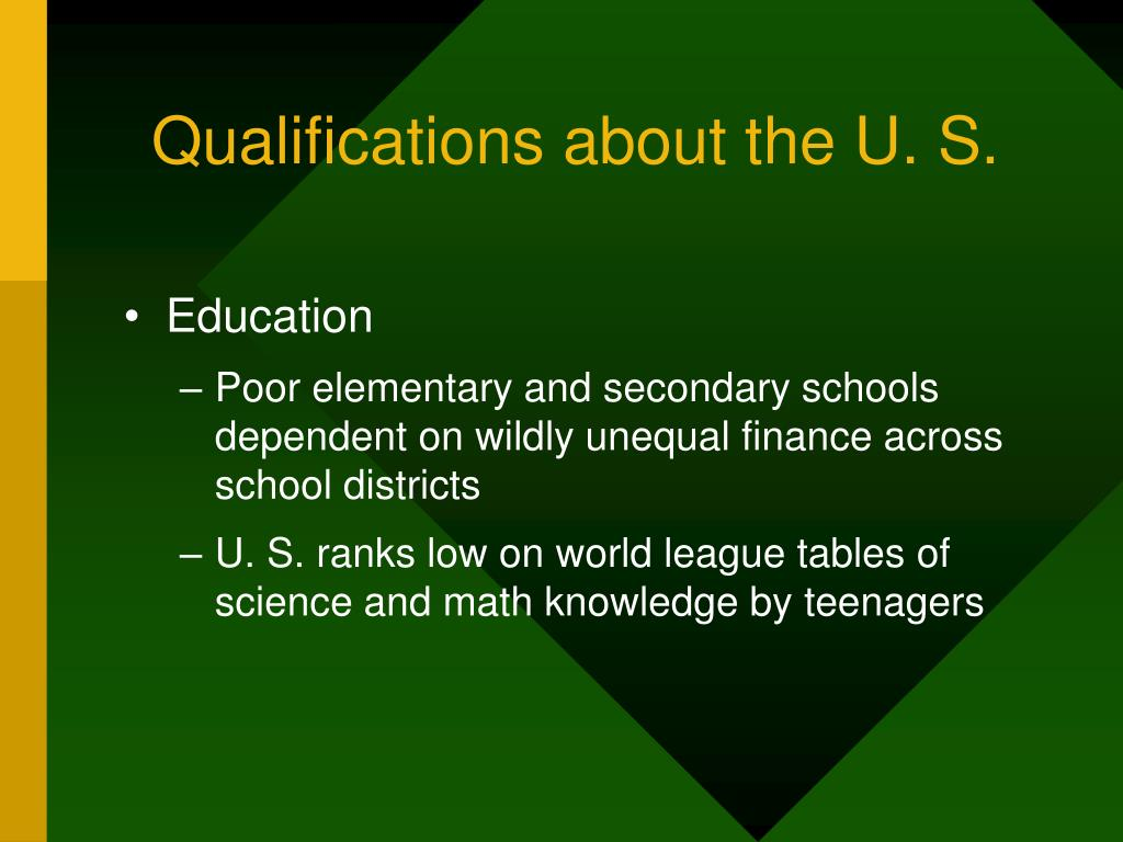 Qualifications about the U. S.