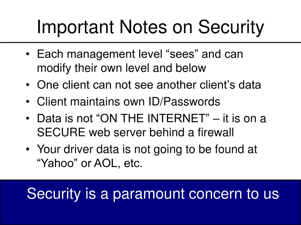 Important Notes on Security