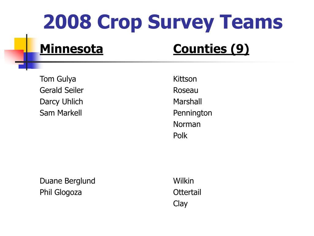 2008 Crop Survey Teams