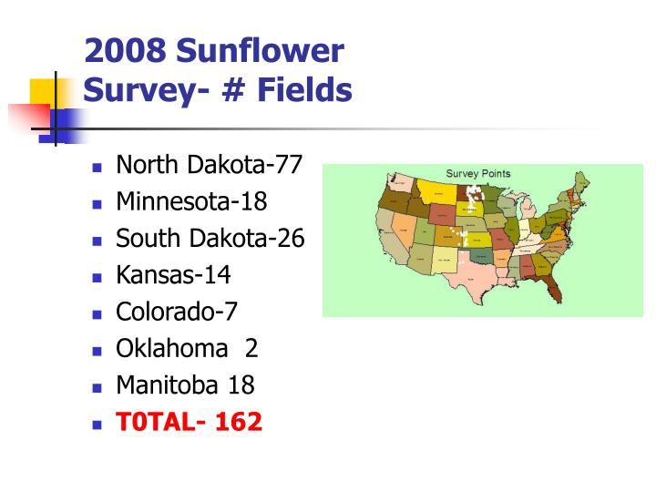 2008 sunflower survey fields