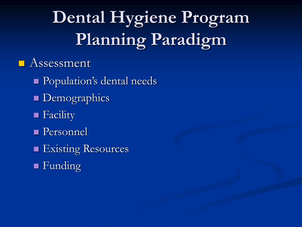 Dental Hygiene Program Planning Paradigm