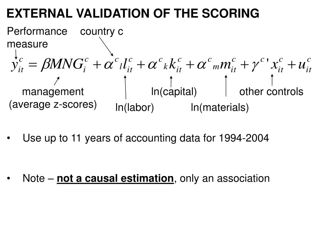 EXTERNAL VALIDATION OF THE SCORING