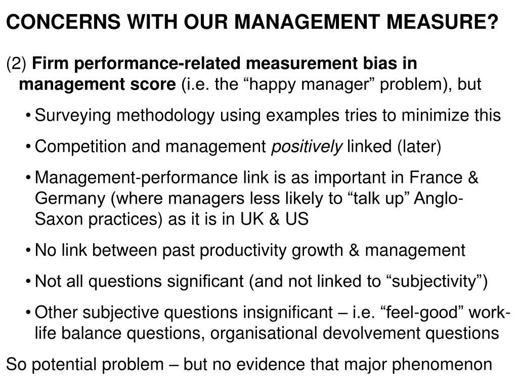 CONCERNS WITH OUR MANAGEMENT MEASURE?
