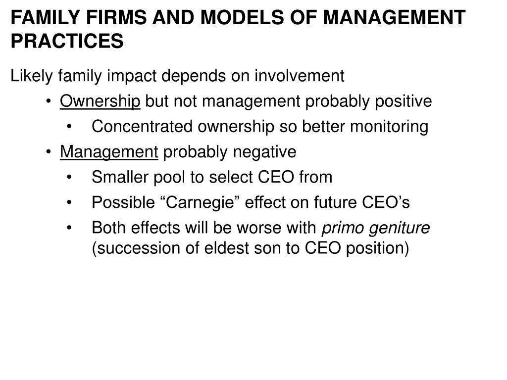 FAMILY FIRMS AND MODELS OF MANAGEMENT PRACTICES