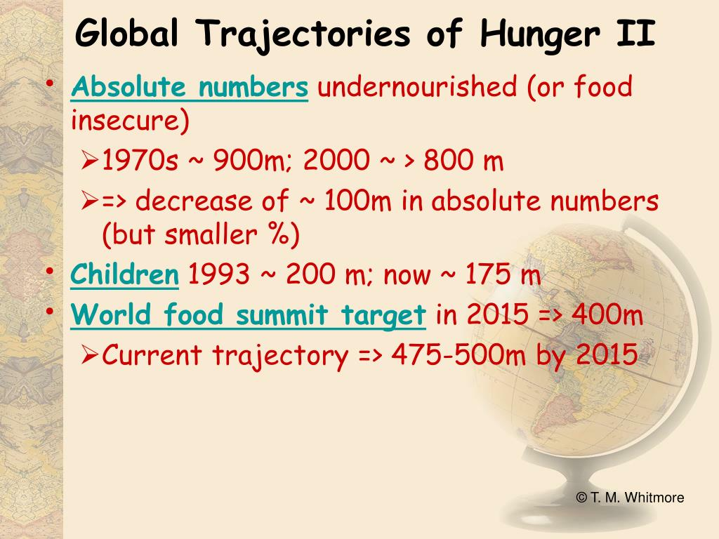 Global Trajectories of Hunger II