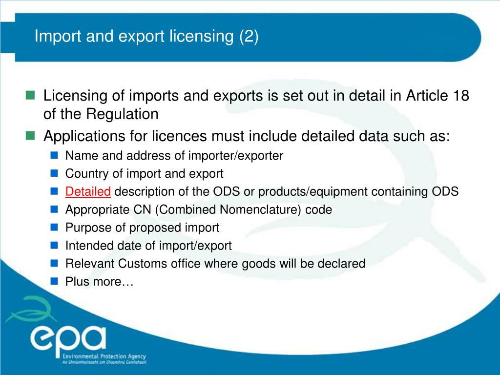 Import and export licensing (2)