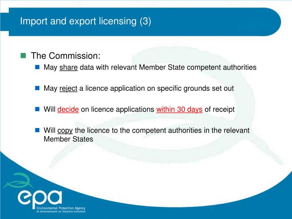 Import and export licensing (3)
