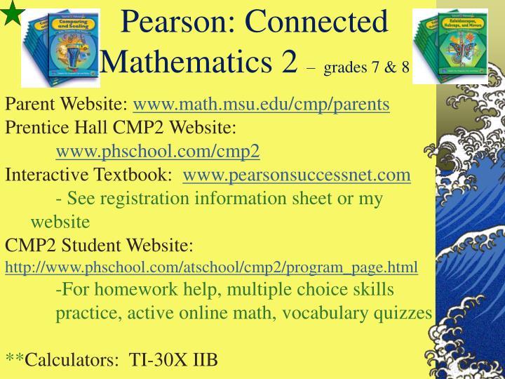 Pearson connected mathematics 2 grades 7 8
