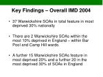 key findings overall imd 2004