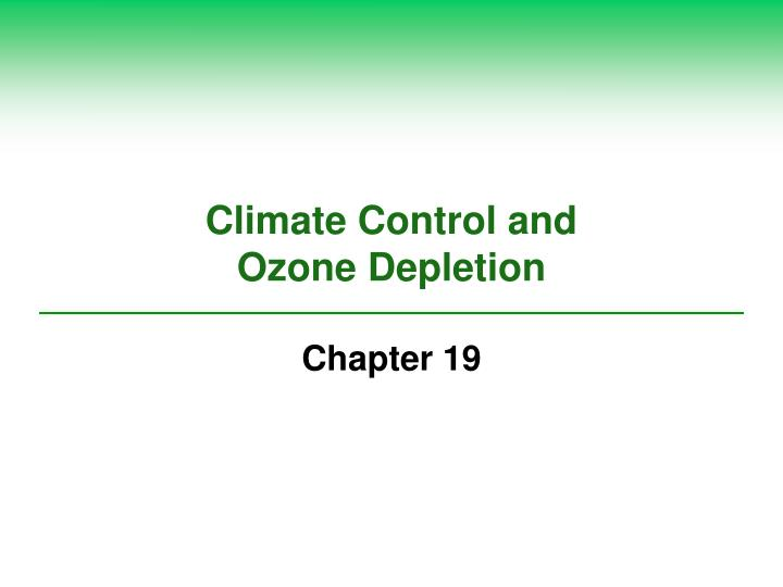 climate control and ozone depletion n.
