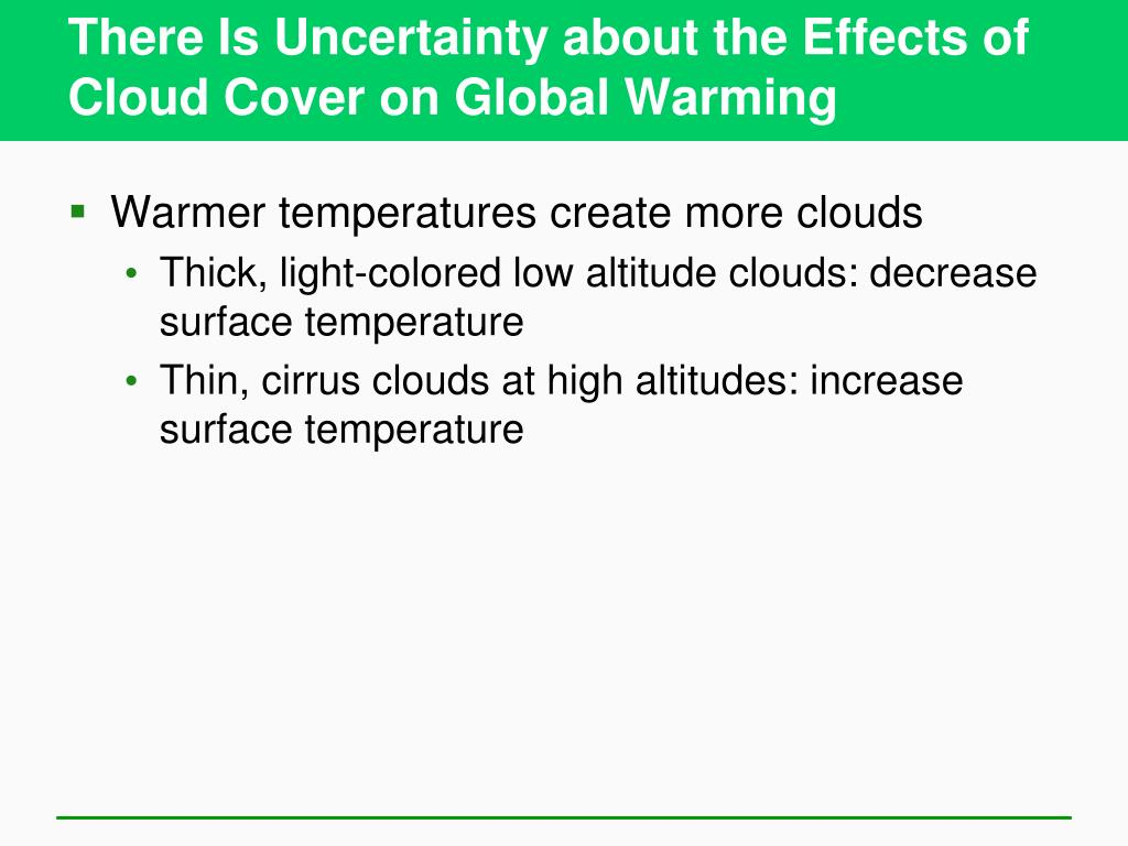 There Is Uncertainty about the Effects of Cloud Cover on Global Warming