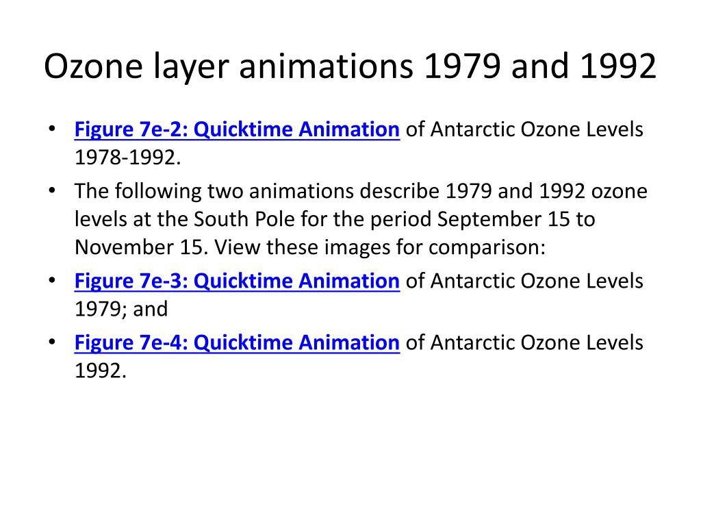Ozone layer animations 1979 and 1992