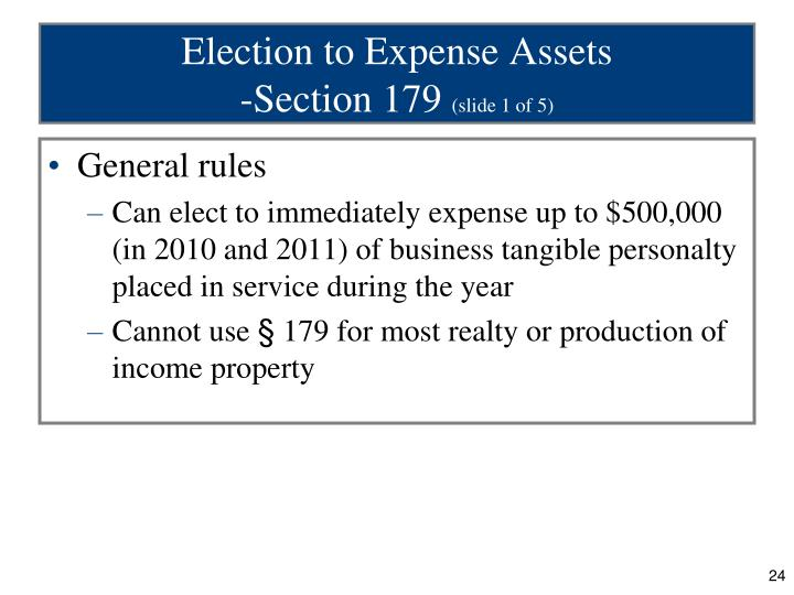 Election to Expense Assets