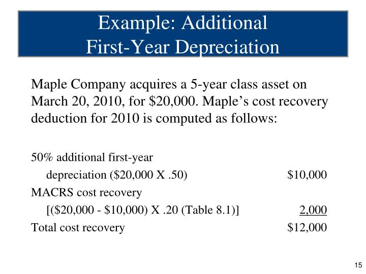 Maple Company acquires a 5-year class asset on March 20, 2010, for $20,000. Maple's cost recovery deduction for 2010 is computed as follows: