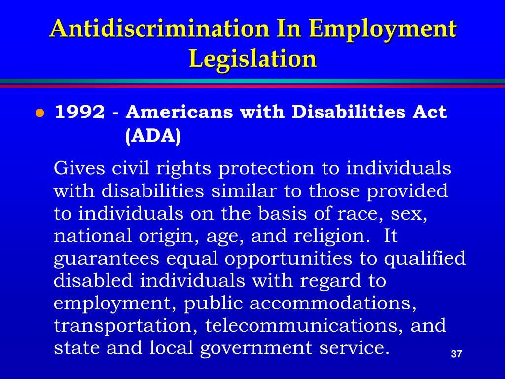 Antidiscrimination In Employment Legislation