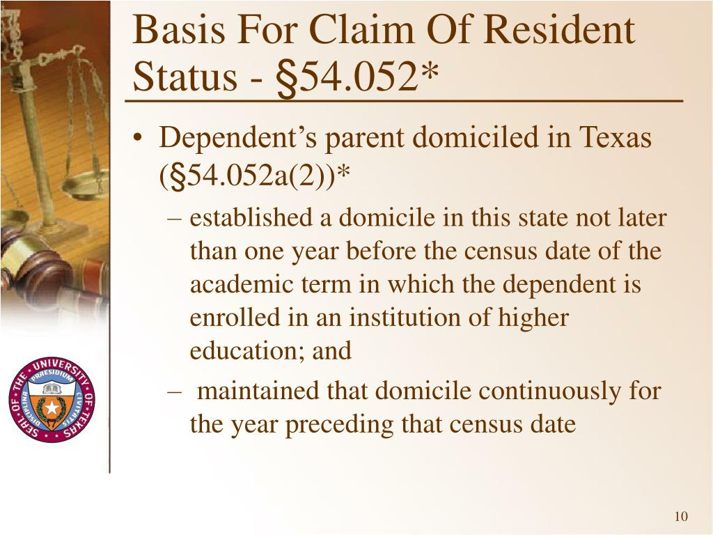 Basis For Claim Of Resident Status -