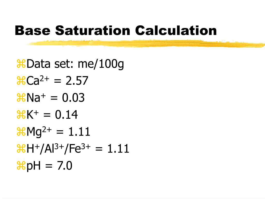 Base Saturation Calculation