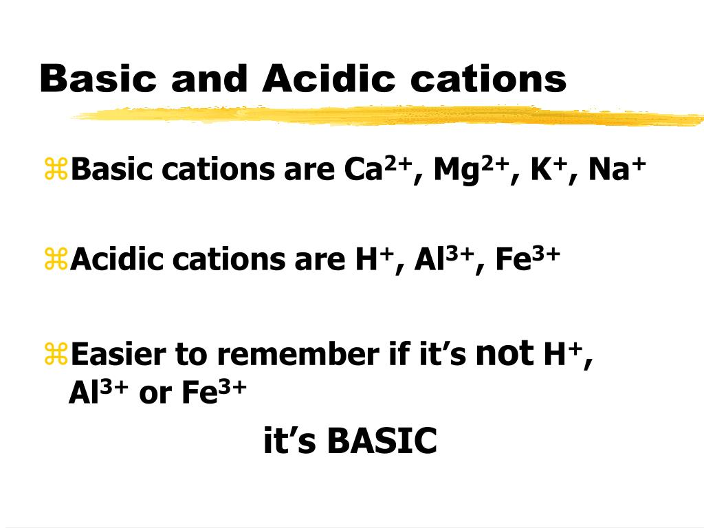Basic and Acidic cations