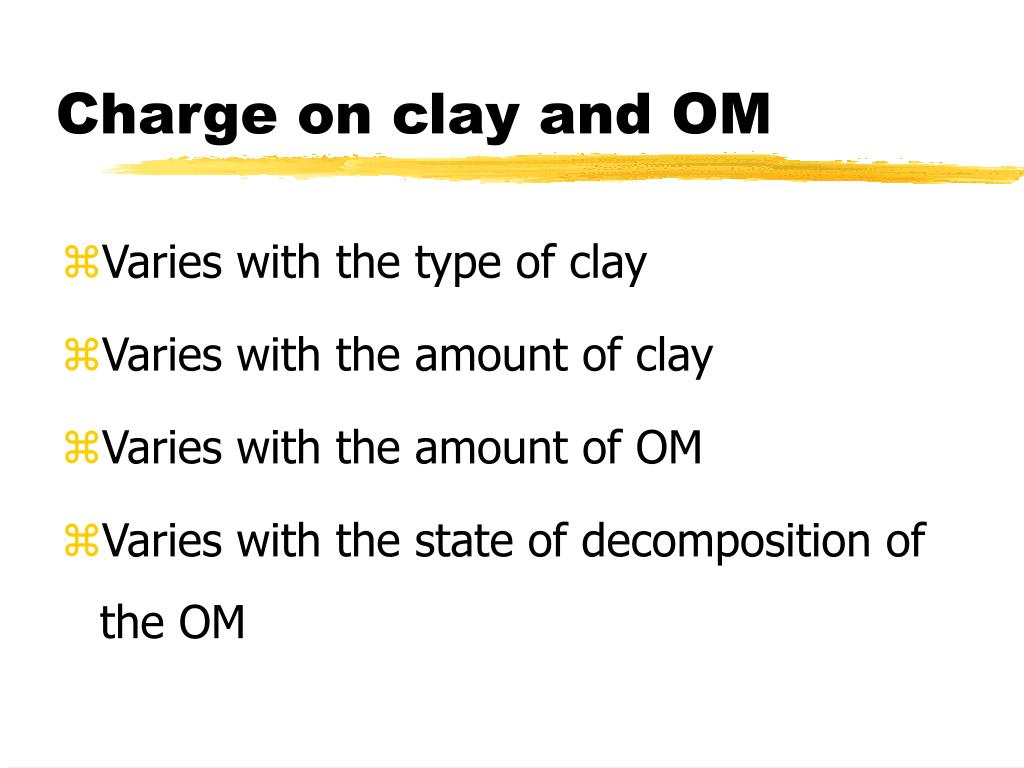 Charge on clay and OM