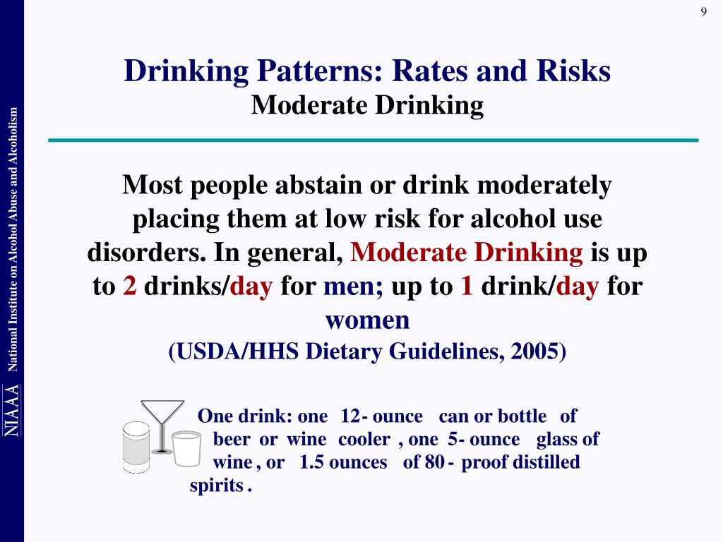 Most people abstain or drink moderately placing them at low risk for alcohol use disorders. In general,