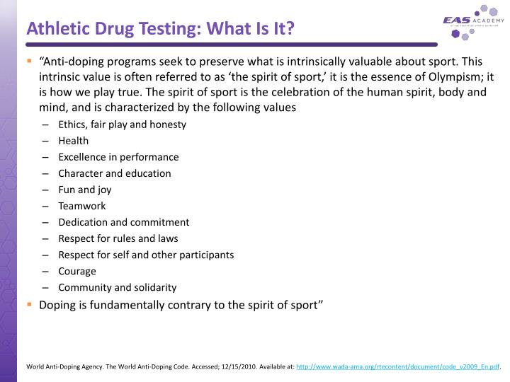 Athletic drug testing what is it