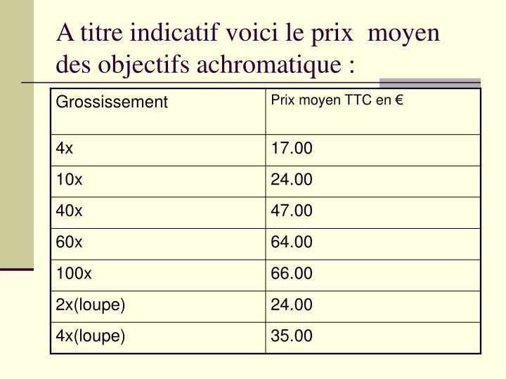 A titre indicatifvoici le prix  moyen des objectifs achromatique: