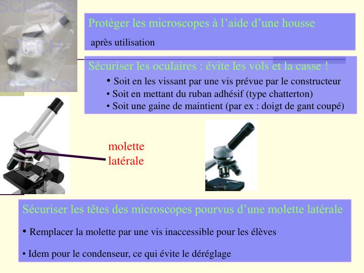 Protéger les microscopes à l'aide d'une housse