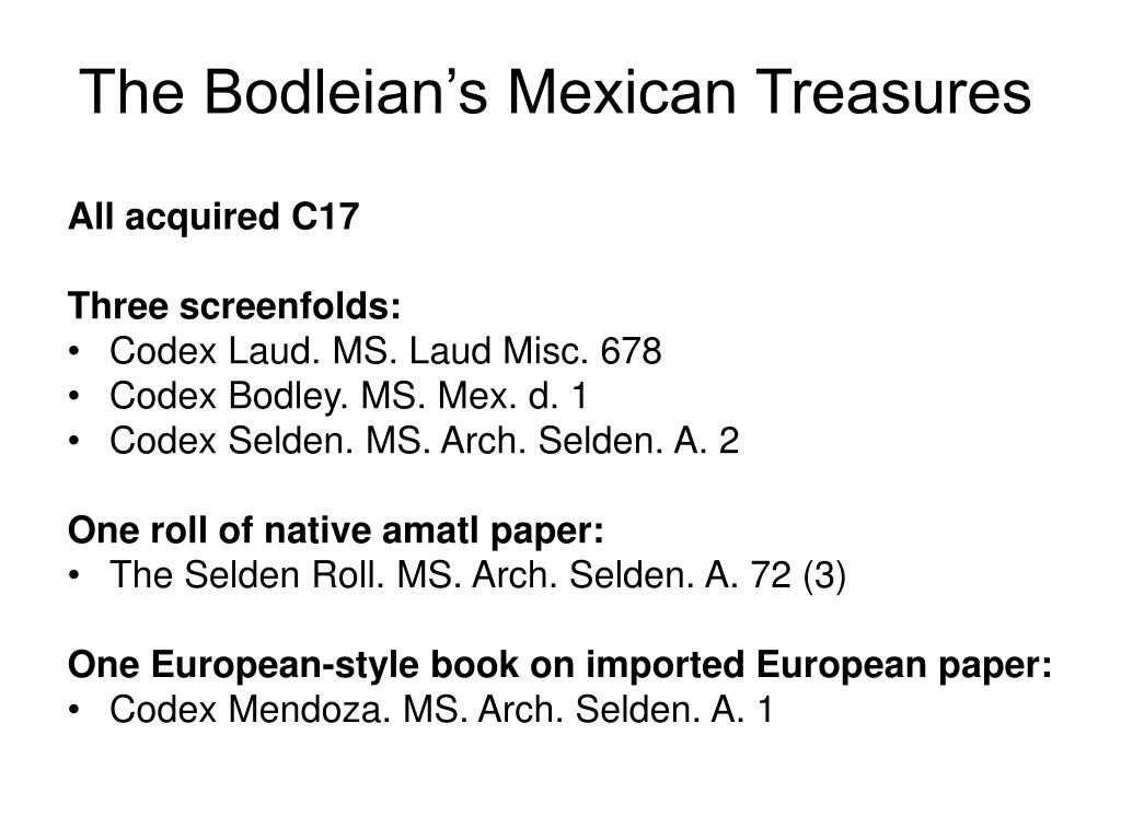 The Bodleian's Mexican Treasures