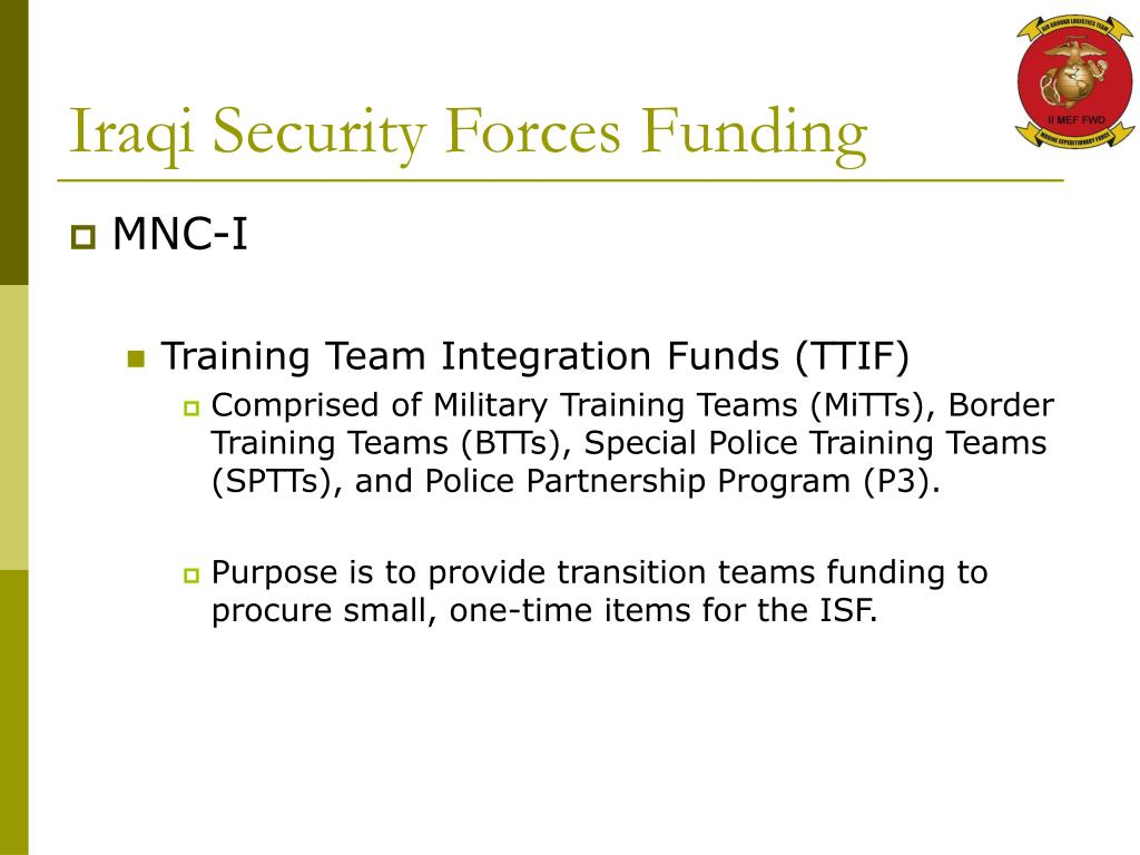 Iraqi Security Forces Funding