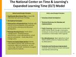 the national center on time learning s expanded learning time elt model