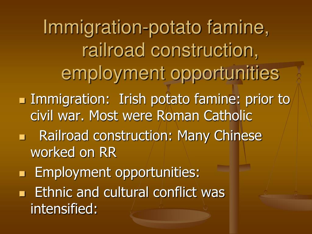 Immigration-potato famine, railroad construction, employment opportunities