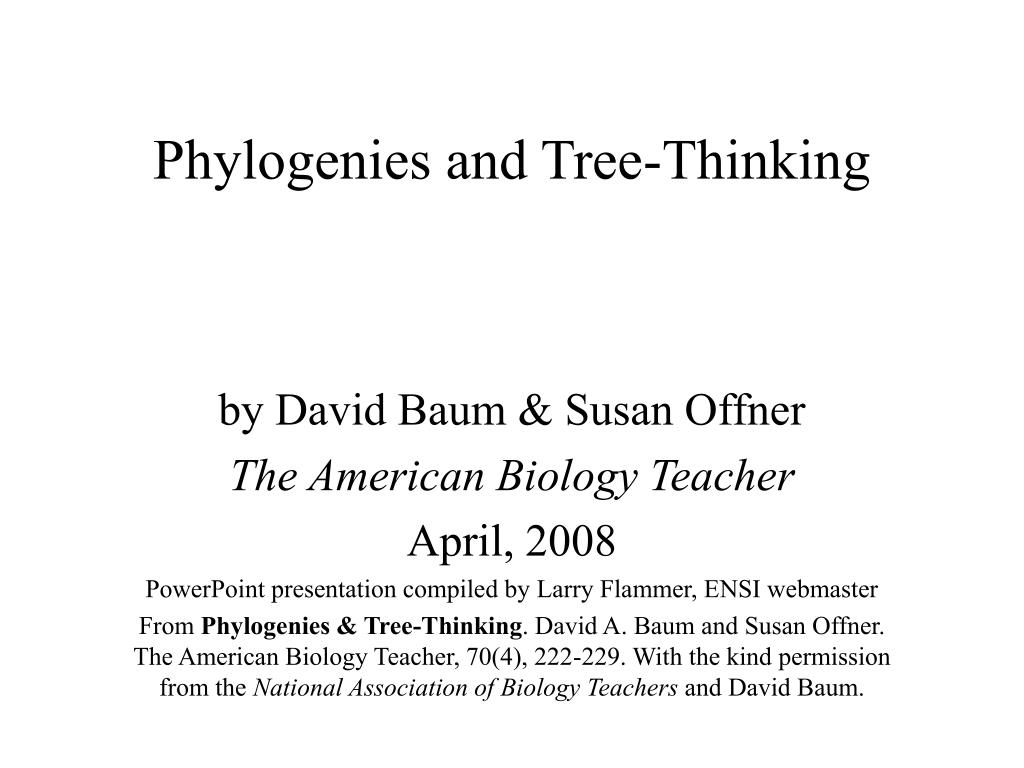 phylogenies and tree thinking
