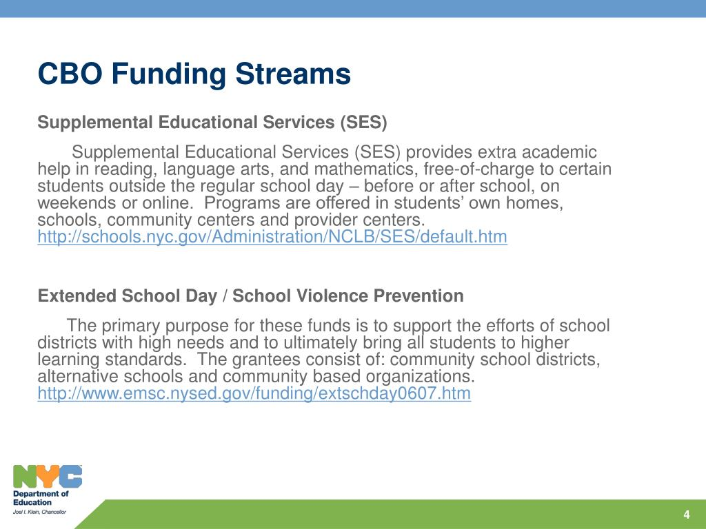 CBO Funding Streams