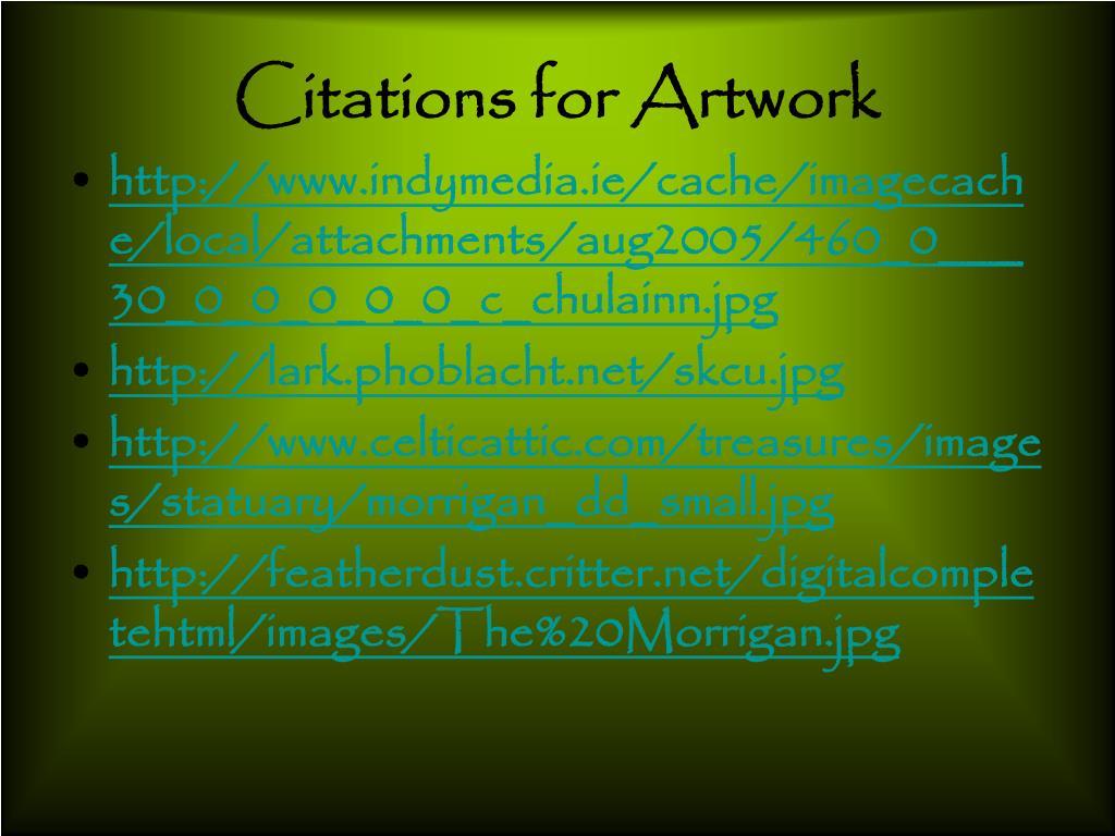Citations for Artwork